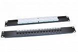 "Hyperline PP3-19-16-8P8C-C5E-110D Патч-панель 19"", 1U, 16 портов RJ-45, категория 5e, Dual IDC, ROHS, цвет черный"
